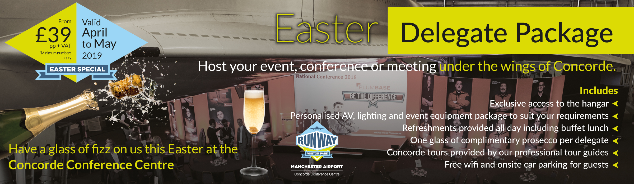 A conference event at the Runway Visitor Park